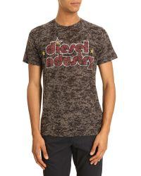 Diesel Tdiind Black Print Cotton T-shirt - Lyst
