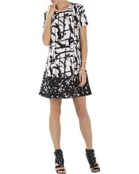 BCBGMAXAZRIA Bailee Print-Blocked Flounced-Hem Dress - Lyst