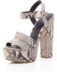 River Island Beige Snake Print Leather Platform Sandals - Lyst