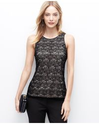 Ann Taylor Lace Embellished Shell - Lyst