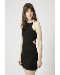 Topshop Petite Square Neck Cut-Out Bodycon Dress - Lyst