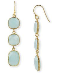 Argento Vivo 3 Stone Linear Earrings blue - Lyst