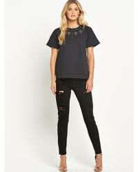 French connection Ripped Skinny Jeans - Lyst