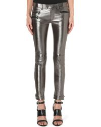 Diesel Panker Cropped Skinny Leather Trousers Silver Treated - Lyst
