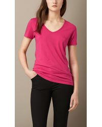 Burberry V-Neck Cotton Jersey T-Shirt - Lyst