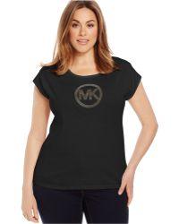Michael Kors Michael Plus Size Studded Logo Tee black - Lyst