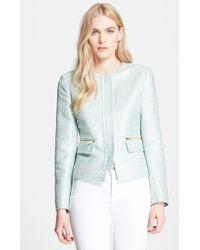 Helene Berman Woven Zip Front Jacket - Lyst