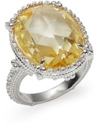 Judith Ripka Faceted Oval & Sterling Silver Ring yellow - Lyst