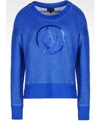 Armani Jeans - Sweatshirt In Lurex Cotton With Logo - Lyst