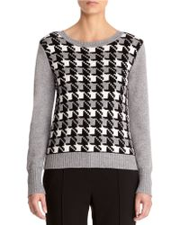 Anne Klein Button Back Houndstooth Pullover Top gray - Lyst