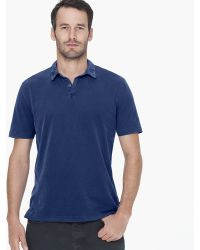 James Perse Sueded Jersey Polo blue - Lyst