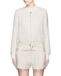 3.1 Phillip Lim | Drawstring Hem Frayed Mesh Tweed Bomber Jacket | Lyst