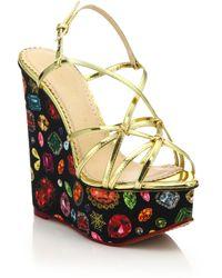 Charlotte Olympia   Elizabeth Metallic Leather Jewel-print Wedge Sandals   Lyst