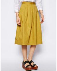 NW3 by Hobbs Lisa Midi Skirt - Yellow