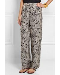 Anna Sui Printed Silk-Crepe Wide-Leg Pants - Lyst