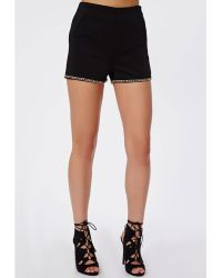 Missguided Chain Trim High Waisted Shorts Black - Lyst
