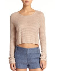 Alice + Olivia Cropped Cashmere-Blend Fine-Knit Sweater - Lyst