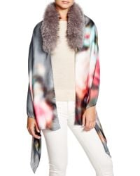 Badgley Mischka Blurred Floral Silk Wrap With Fox Fur Stole - Pink