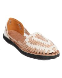 Ix Style Women'S Beige Woven Leather Huarache Sandal - Lyst