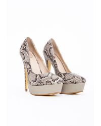 Missguided Sienna Pointed Platform Court Shoes Taupe Snakeskin - Lyst