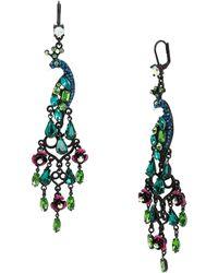 Betsey Johnson Peacock Chandelier Drop Earrings - Multicolour