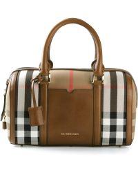 Burberry 'Sartorial' Medium Check Bowling Bag - Lyst