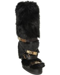 Moschino Logo-Strap Faux-Fur Snow Boots - Black