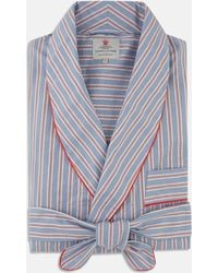 Turnbull & Asser | Navy And Red Multi Stripe And Micro Check Cotton Gown | Lyst