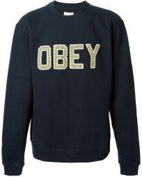 Obey Logo Sweatshirt - Lyst
