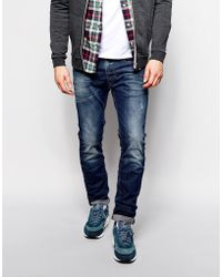 Diesel Jeans Thavar Slim Tapered Fit 838D Mid Distressed Wash - Lyst