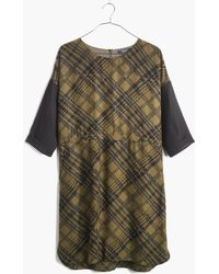 Madewell Silk Shiftdress In Tread Plaid green - Lyst