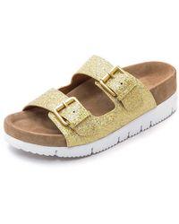 Ash Takoon Glitter Two Band Sandals - Gold/Chamois - Lyst