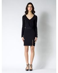 Patrizia Pepe Knee-length Dress with Long Sleeves in Viscose Crepe - Lyst