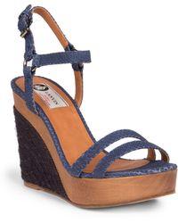 Lanvin Snake-Embossed Leather Wedge Espadrille Sandals blue - Lyst