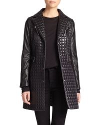 Dawn Levy Quilted Faux Leather-Detail Jacket - Lyst