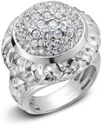 Slane - Basket-weave White Sapphire Pave Ring - Lyst