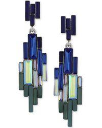 Vince Camuto - Silver-tone Multicolour Baguette Linear Earrings - Lyst