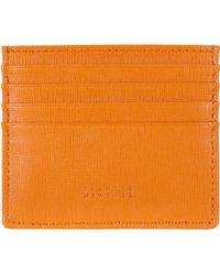 Barneys New York Saffianoleather Credit Card Case - Lyst