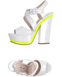Miu Miu White Sandals - Lyst