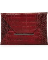 BCBGMAXAZRIA Harlow Crocembossed Envelope Clutch Bag Royal Port Ryl Port - Lyst