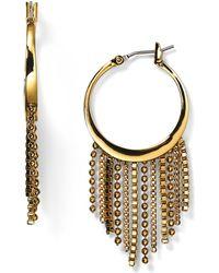 Diane von Furstenberg Shaky Fringe Hoop Earrings - Metallic