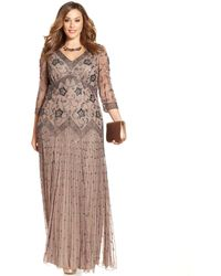 Pisarro Nights Plus Size Three-Quarter-Sleeve Beaded Gown - Lyst