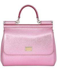 Dolce & Gabbana Medium Sicily Lamé Dauphine Leather Bag - Lyst