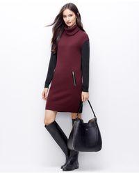 Ann Taylor Colorblock Turtleneck Sweater Dress - Lyst
