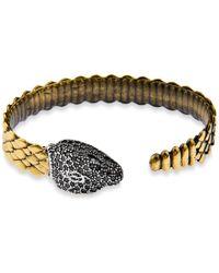 Platadepalo - Bronze Zircon & Silver Snake Head Bracelet - Lyst