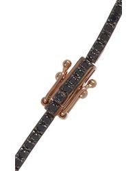 Tate - Black Diamond & Rose Gold Tennis Bracelet - Lyst