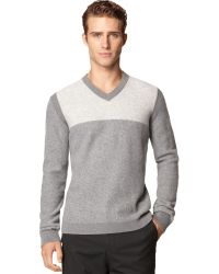 Calvin Klein Ck Premium Boiled Wool Colorblocked V-neck Sweater - Lyst
