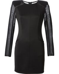 Pierre Balmain Contrasting Sleeves Fitted Mini Dress - Lyst