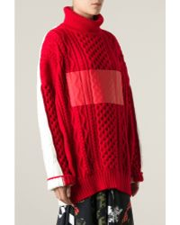 Preen Two Tone Chunky Knit Sweater - Lyst