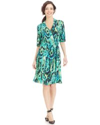 Miraclesuit Elbow-Sleeve Faux-Wrap Printed Dress - Lyst